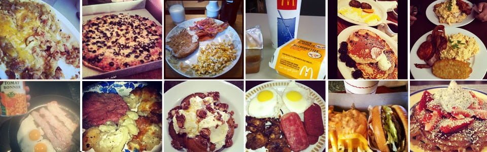 12 different big fat breakfast foods, from bacon and eggs to pancakes.