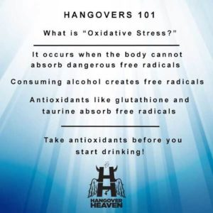 Hangovers 101 oxidative stress