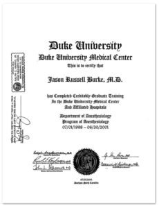 Dr. Jason Burke's credentials from Duke University Medical Center