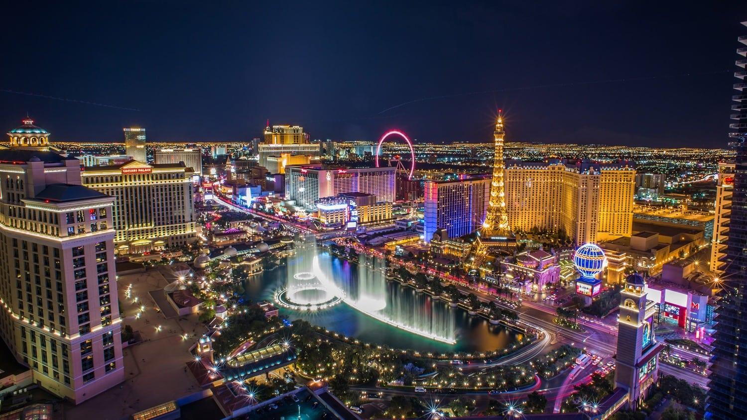 An elevated view of the Las Vegas Strip at night.