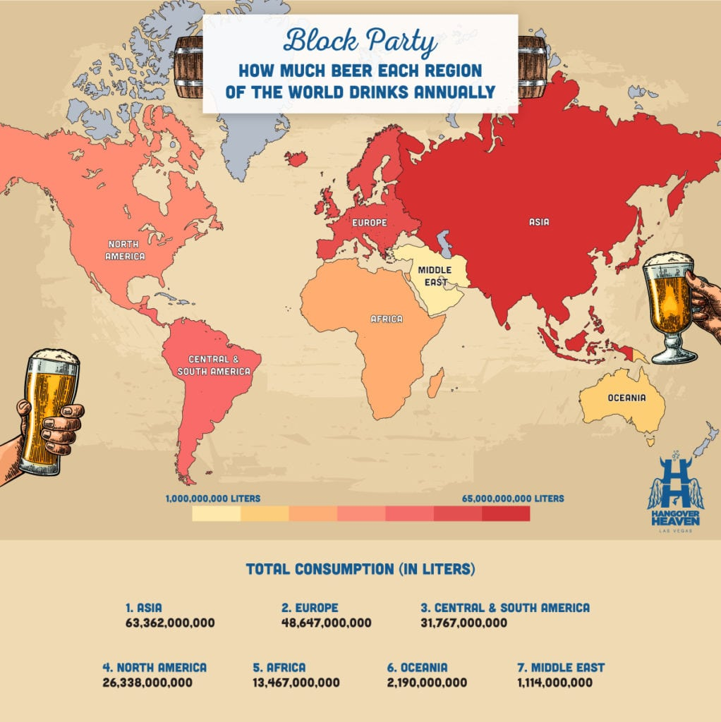 A map showing how much beer each region of the world drinks annually
