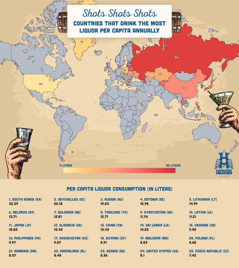 A map showing countries that drink the most liquor per capita annually.