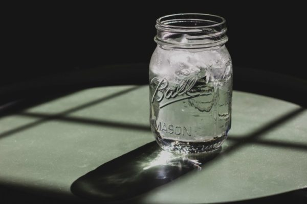 mason jar of ice cold water